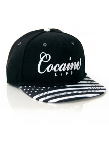 Cocaine Life Snapback Cap Stars and Stripes Black