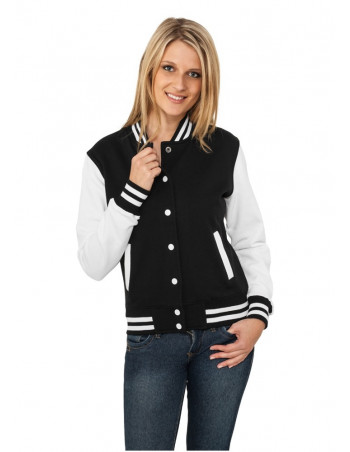 Ladies 2-tone College Sweatjacket blk/wht
