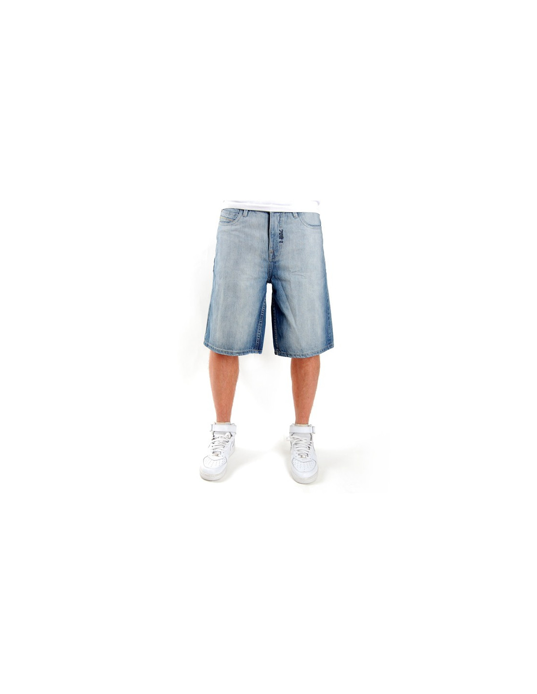 2-Pac Blue Logo Denim Shorts