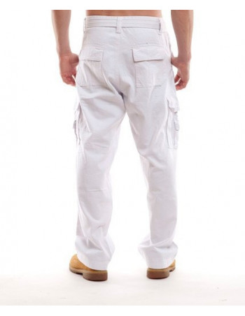 Royal Blue Relaxed-Fit Cargo Pants White