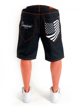 Cocaine Life Stars & Stripes Hunter Shorts Raw denim