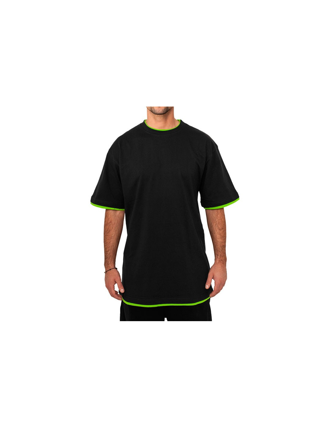 Urban 2-tone t-shirt black / lime green