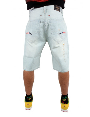 Phat Farm Denim Jeans Shorts Official Logo Baggy Snow Wash