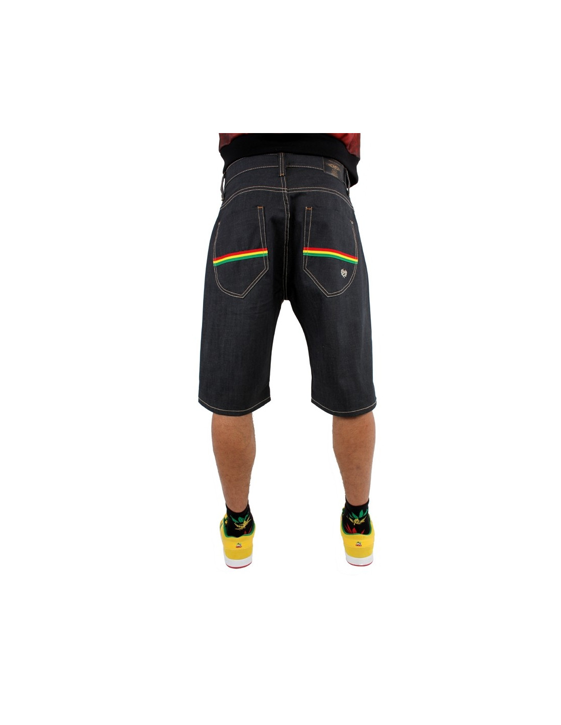 Phat Farm shorts Rasta Stripes Baggy Raw denim Japan Denim