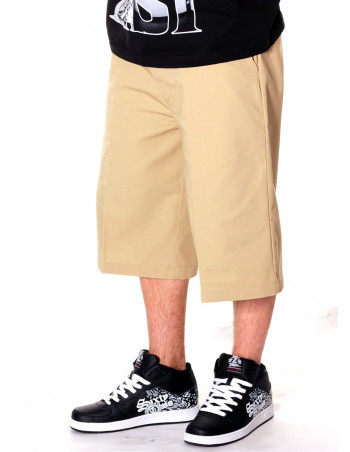 Access Baggy Plain Chino Shorts Khaki