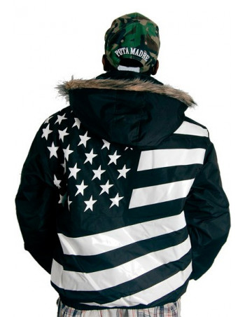 Cocaine Life Flag Winter Jacket Black