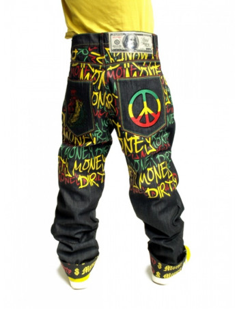 Dirty Money Rasta Lion Peace Jeans Baggy