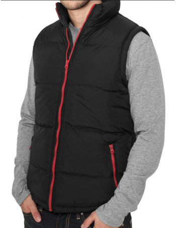 Urban Contrast Bubble Vest blk red
