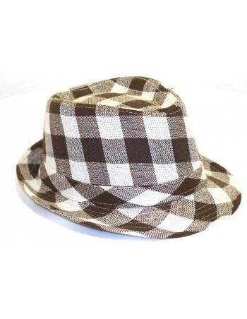 Plaided Hat/Brown Beige