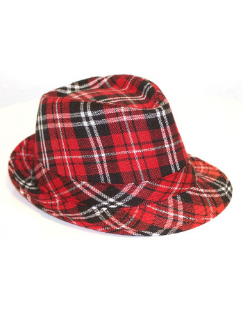 Plaided Hat/Red BlackWhite