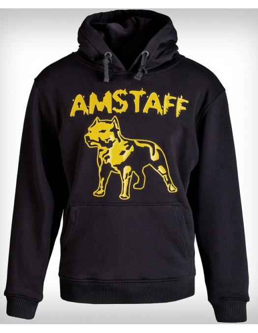 Amstaff Hoodie Yellow Logo Black