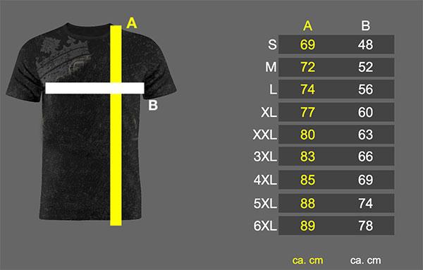 størrelsesskema nordic nation bomulds t-shirt